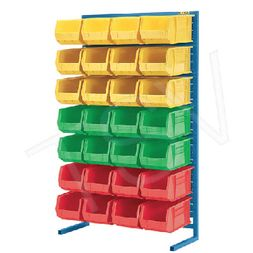 Plastic bins, stacking containers, wire shelving, cabinets, etc.